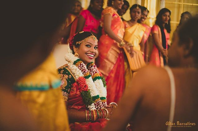 Happy brides are the prettiest!!!♥️ . . . . . . #happybride #bridechilla #wedmegoodsouth #weddinginspiration #bridetobe #bridestory #photraits #bigfatsouthindianwedding #southindianbride  #wedddingphotographer #bridalglow #bridestyle #muainspiration #instabride #junebugweddings #weddingwire #bridalblouse #bridalfashion #happybridesaretheprettiest #weddingideas