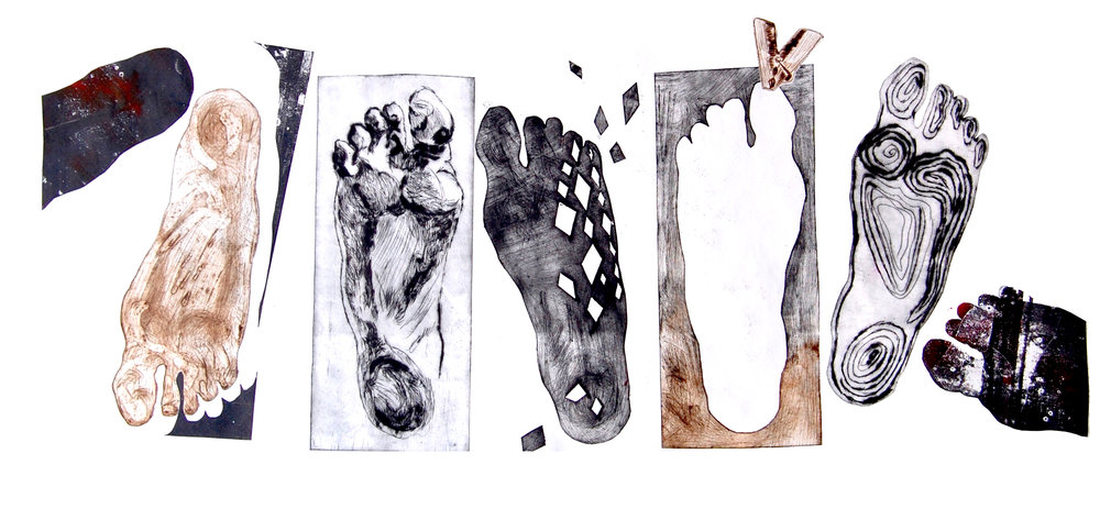 """A few steps"" / etchings metal / 70x30"