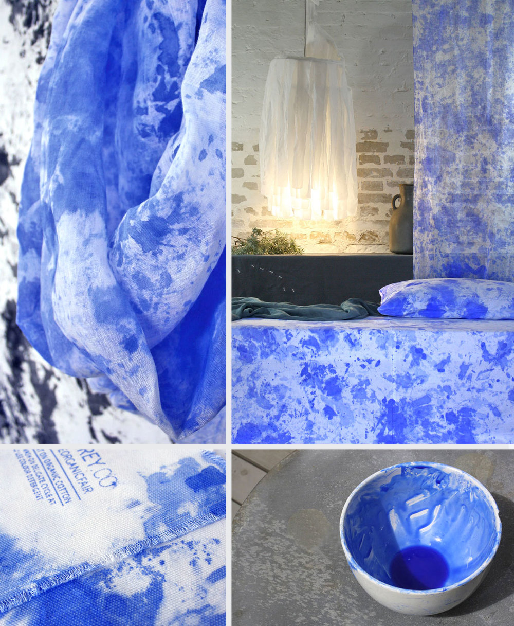 Shown above:   Hand-Painted Curtain – Ultramarine  ,   Hand-Painted Throw – Ultramarine  ,   Hand-Painted Cushion – Ultramarine