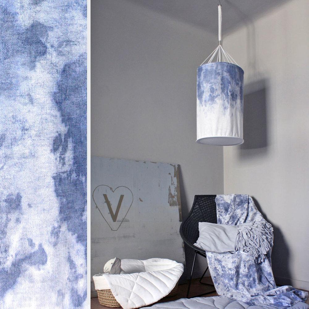 Shown above:   Hand-Painted Lantern – Indigo
