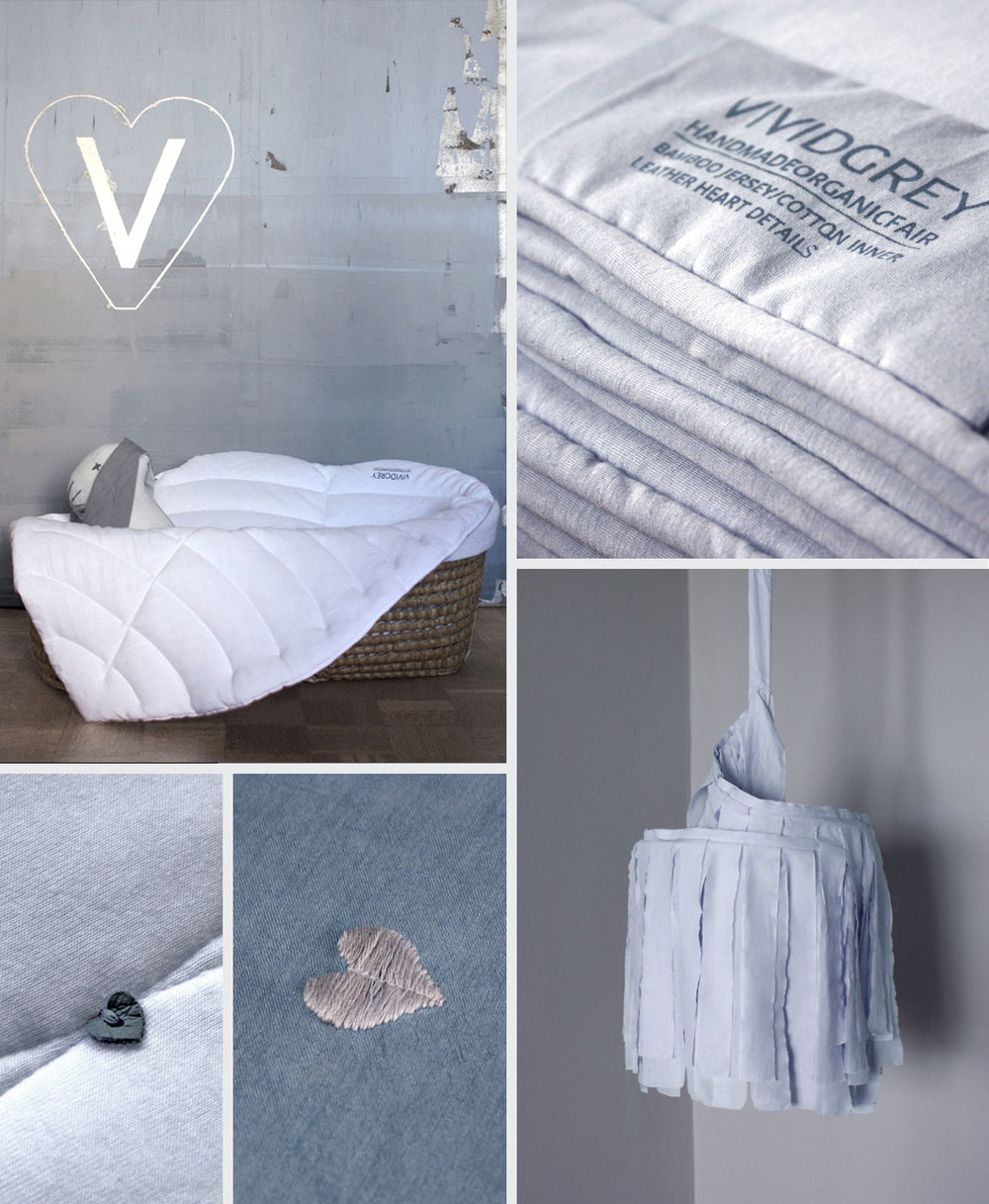 Shown above:   Baby Leaf – White  ,   Line Quilt – Sky Grey  ,   Line Quilt – White  ,   Tender Sleep Bedlinen – Dusk  ,      Small Slumber Shade –      Chalk Grey