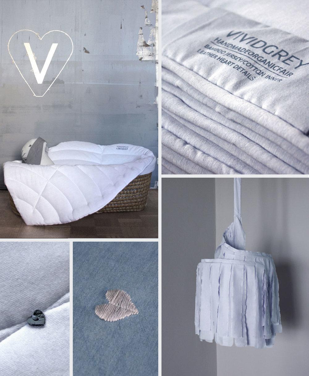 Shown above:   Baby Leaf – White  ,   Line Quilt – Sky Grey  ,  Line Quilt – White  ,   Tender Sleep Bedlinen – Dusk  ,   Small Slumber Shade – White