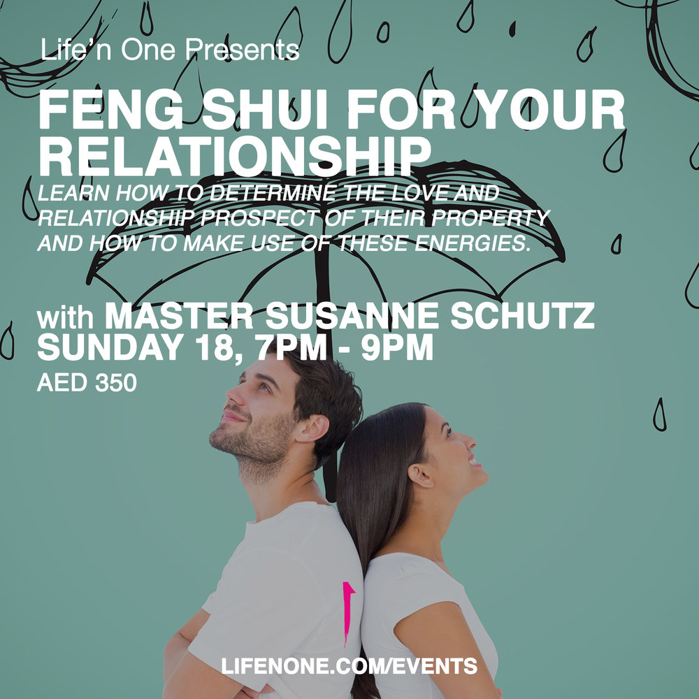 Feng Shui for relationships in Dubai on March 18 with Master Susanne Schutz