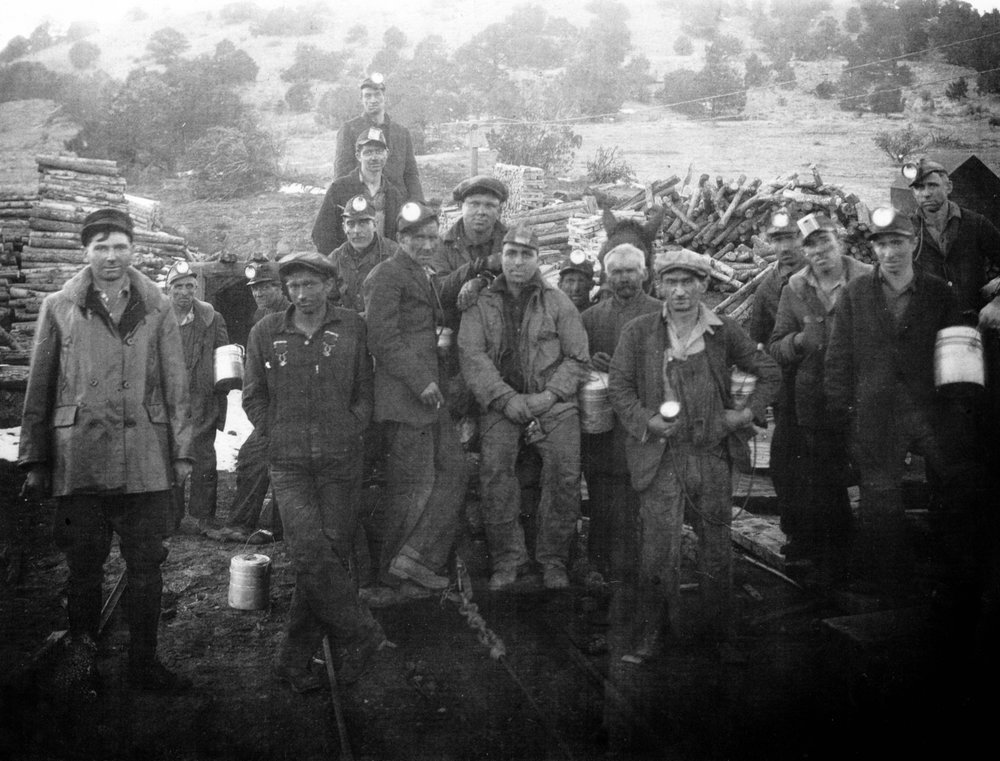 Miners at the Black Diamond coal mine, Wetmore, CO.