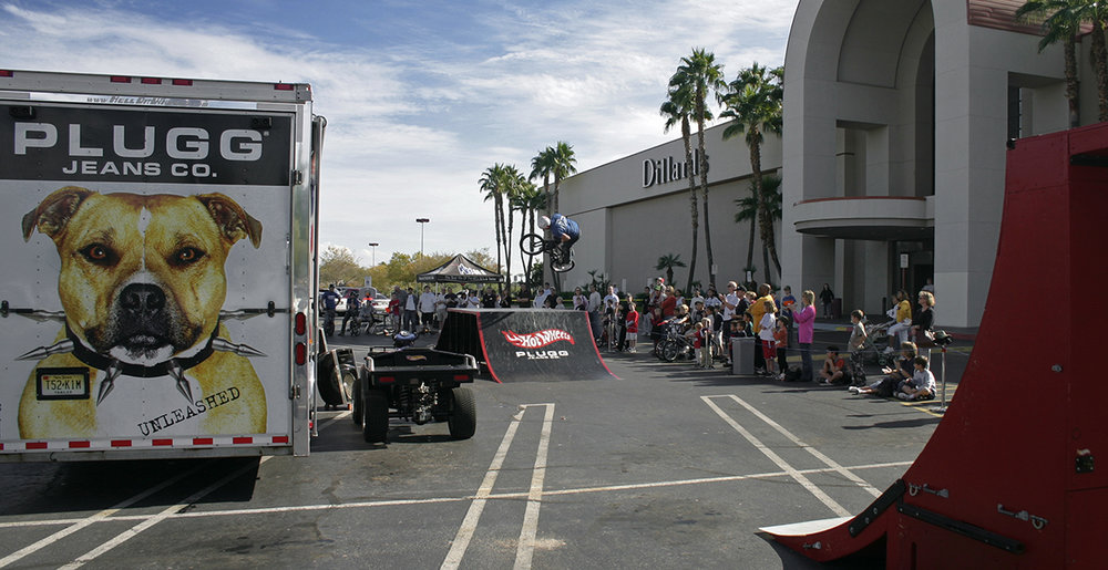 Hot Wheels BMX Bike Team performing for customers and fans at Dilliard's
