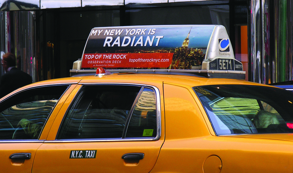 Top of the Rock included extensive outdoor advertising, including Taxi Tops, Bus Shelters, and Phone Kiosks.
