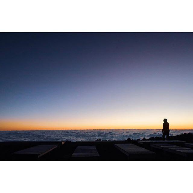 Pre-sunrise at the summit of Mount Fuji.