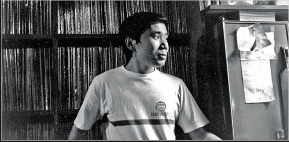 Haruki Murakami at his jazz bar, Peter Cat, in Sendagaya, Tokyo, 1978. Credit Haruki Murakami's Office