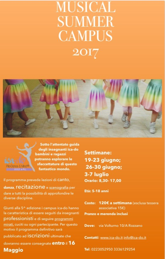 Campus di Musical Ica-Do Rozzano - Estate 2017