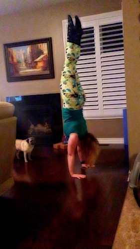 Handstanding in my Painted Leggings