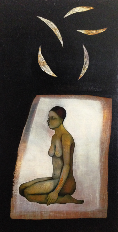 Kneeler, oil on panel, 9 x 6, 2012
