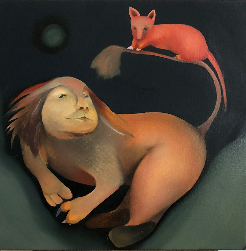 Lion and mouse, oil on canvas, 16 x 16 inches, 2005