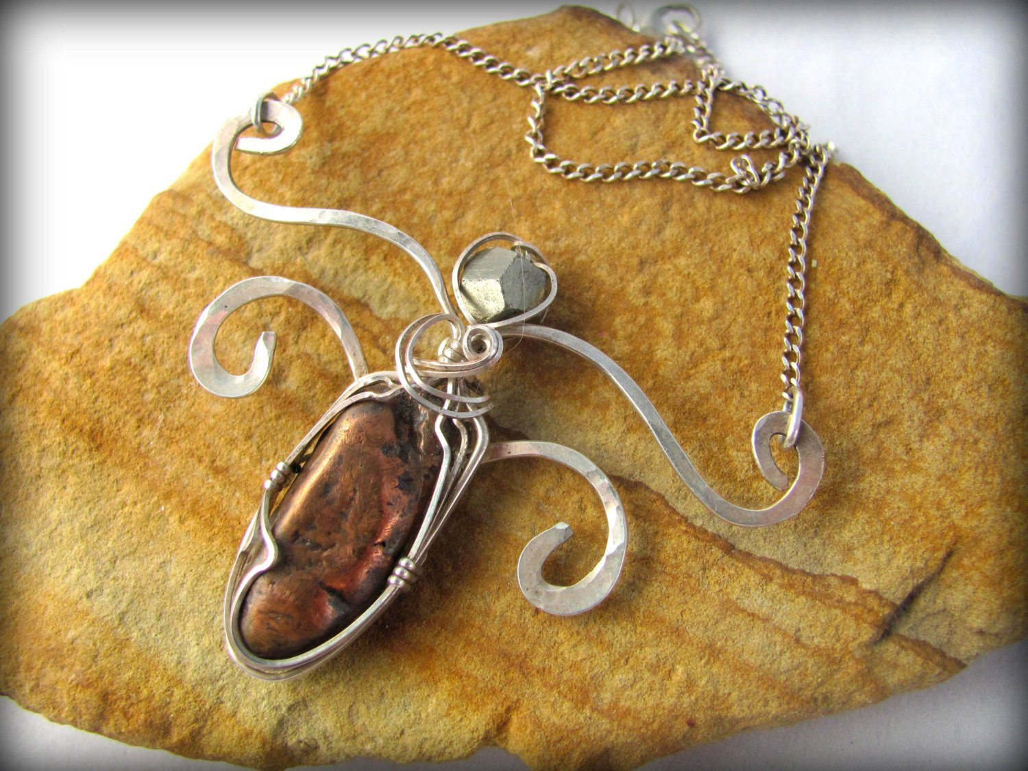 Wire Wrapped Stone Pendant Silver Butterfly Necklace Keira Shine