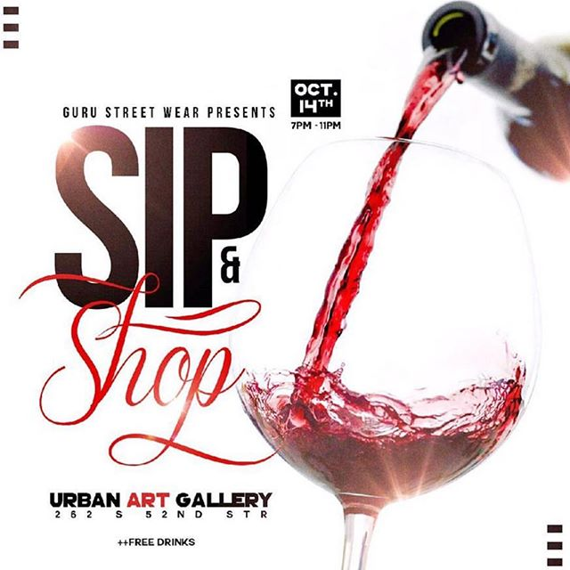 Come support tonight at the 2nd @gurustreetwear Sip n Shop!! Free entry, wine and good vibes. 7-11pm see you there!!! #PhillySupportPhilly