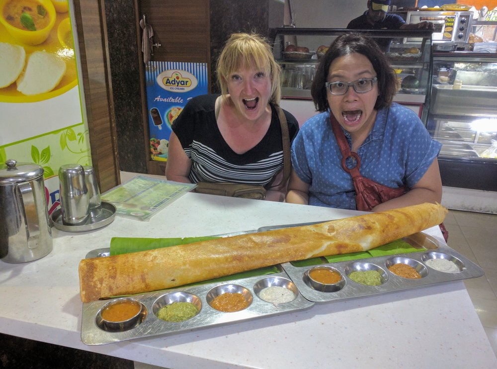Esther and I take on a gjnormous dosa