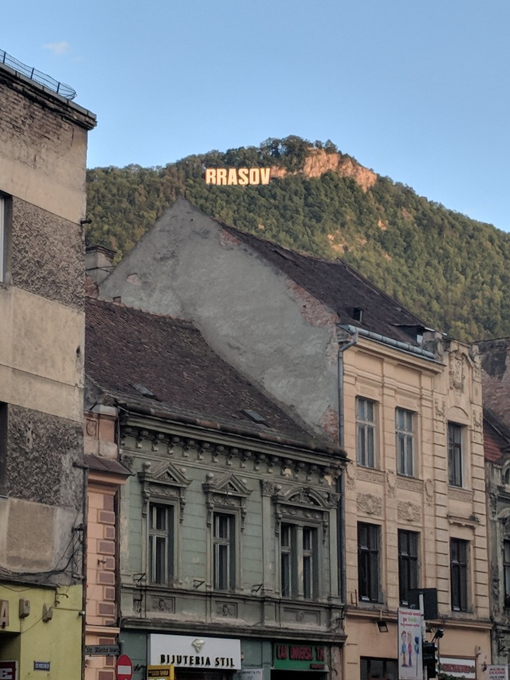 Our first glimpse of the famous Brasov sign