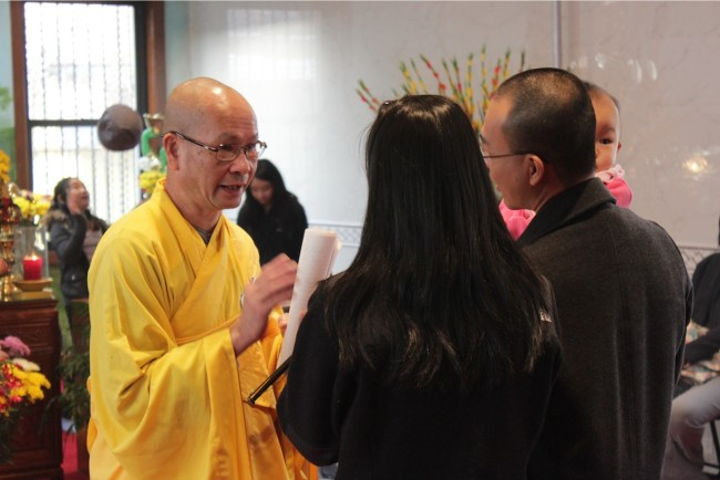 Thich Thien Chi with temple members