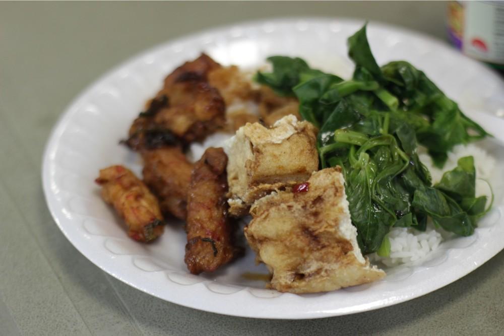 vegetarian food prepared by the monk and volunteers