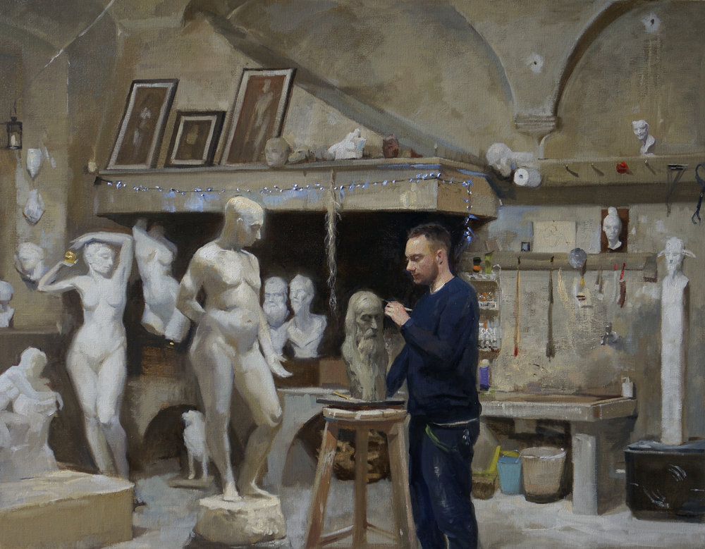 'The Sculptor's crypt' 85 cm by 110 cm Oil on linen
