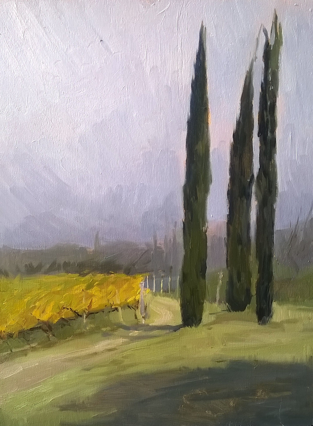 'Foggy mornings' 30 cm by 40 cm Oil on panel