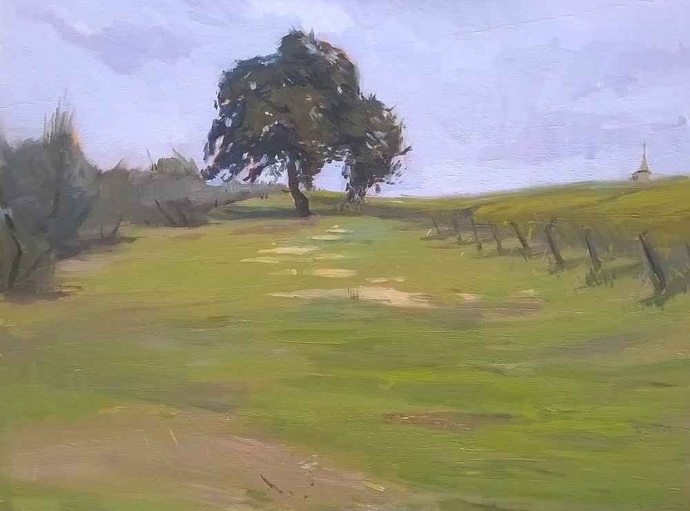 'The lone tree' 30 cm by 40 cm Oil on panel