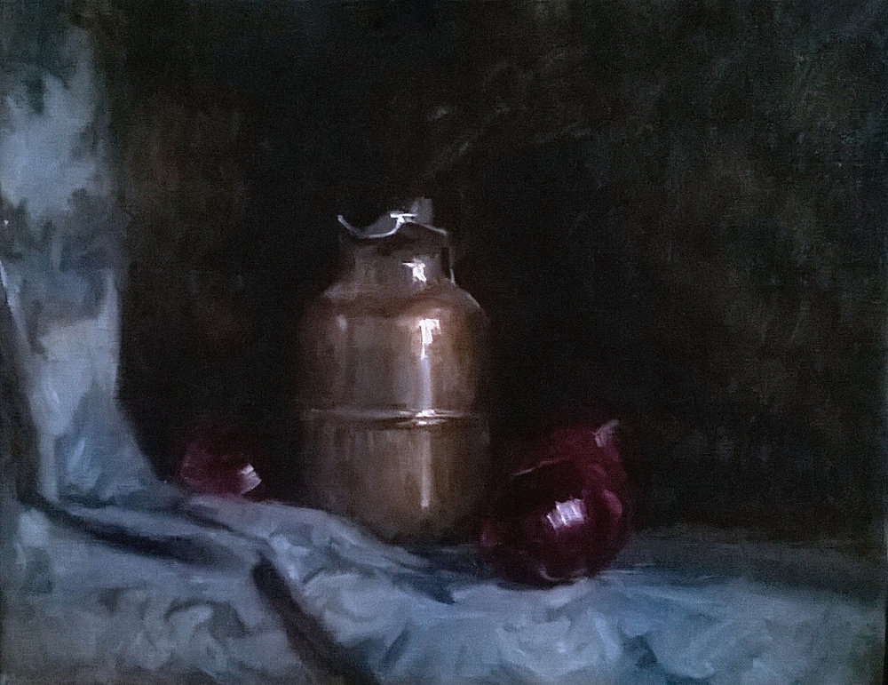 'Jar with Onions' 45 cm x 55 cm Oil on linen
