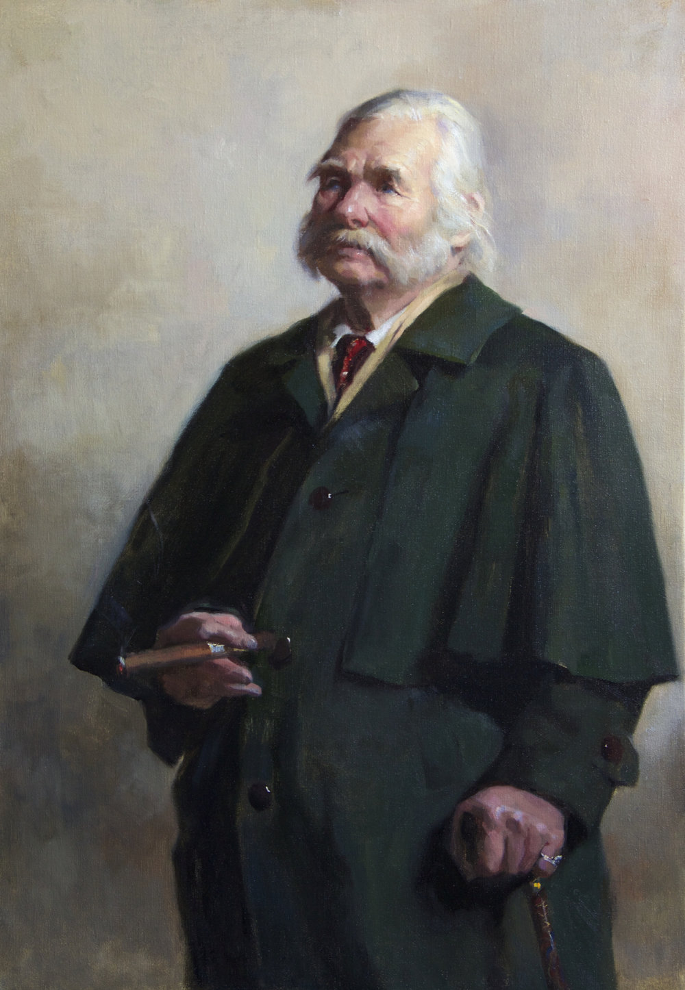 'Viktor's Green Coat' 110 cm x 80 cm  Oil on linen