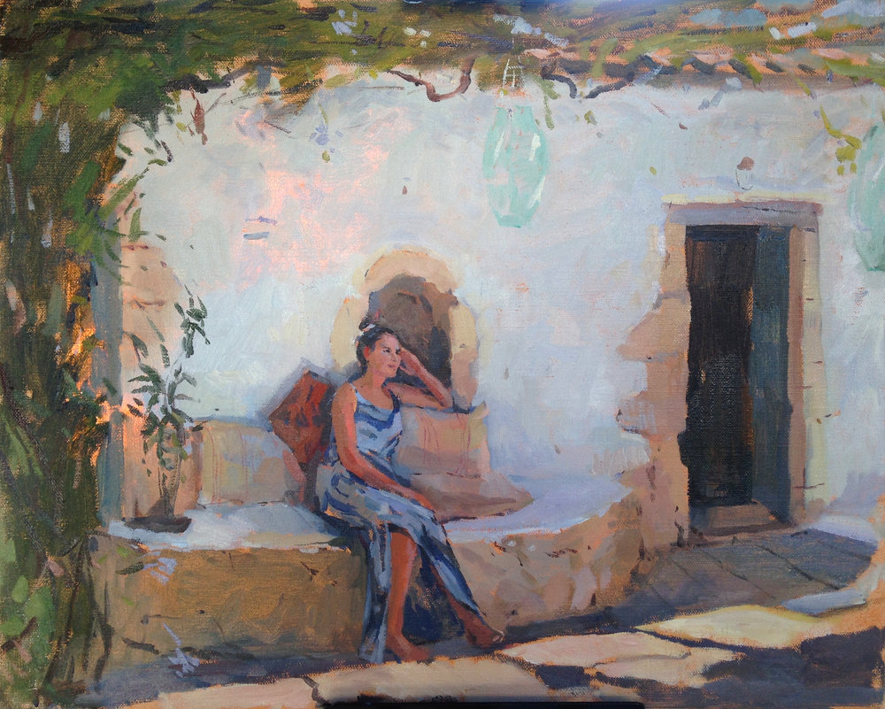 On the porch 35 cm x 50 cm Oil on linen