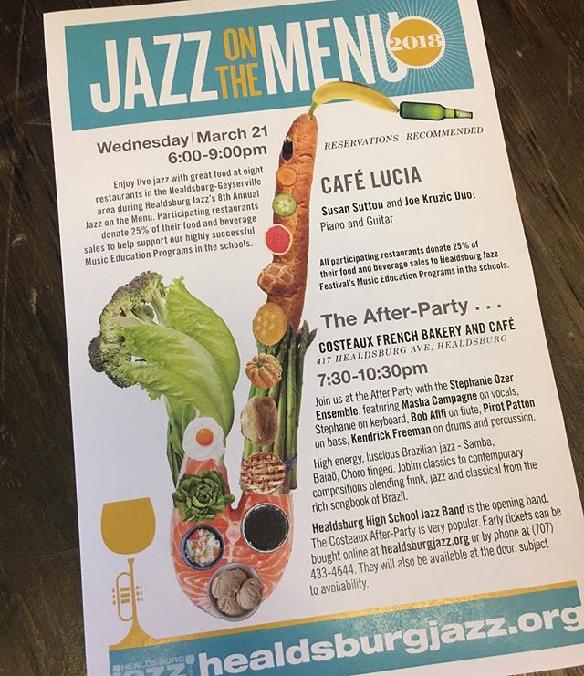 Live music on Wednesday, March 21 with Susan Sutton and Joe Kruzic Duo- We are so excited to be participating in Jazz on the Menu again this year!25% of all sales for the evening benefit music education in local schools! #music #education #jazz #jazzonthemenu #healdsburg #healdsburgjazz #education