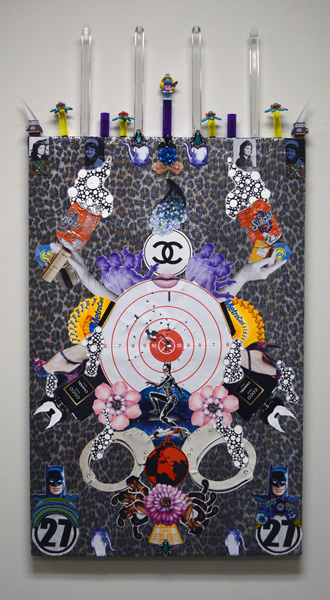 Juan Hinojosa,  Smooth Criminal , 2015, plexi glass chandelier tubes, Bizzaro action figures, Metrocards, sunkist cans, acrylic flowers, silkscreen fabric, jewelry, shooting range target, ink, and found objects on tacky leopard print sequins, 59 x 32 inches