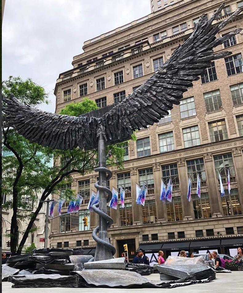 "Anselm Keifer,""Uraeus,"" on view at Rockefeller Center through  Public Art Fund through July 22, 2018. Photo Credit: Jacque Donaldson"
