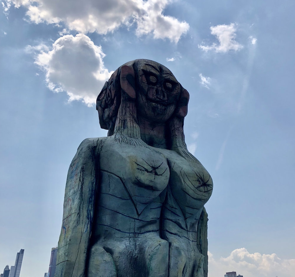 "Huma Bhabha, ""We Come in Peace,"" on view on the The Met Roof top through October 28. Photo cred: Jacque D."