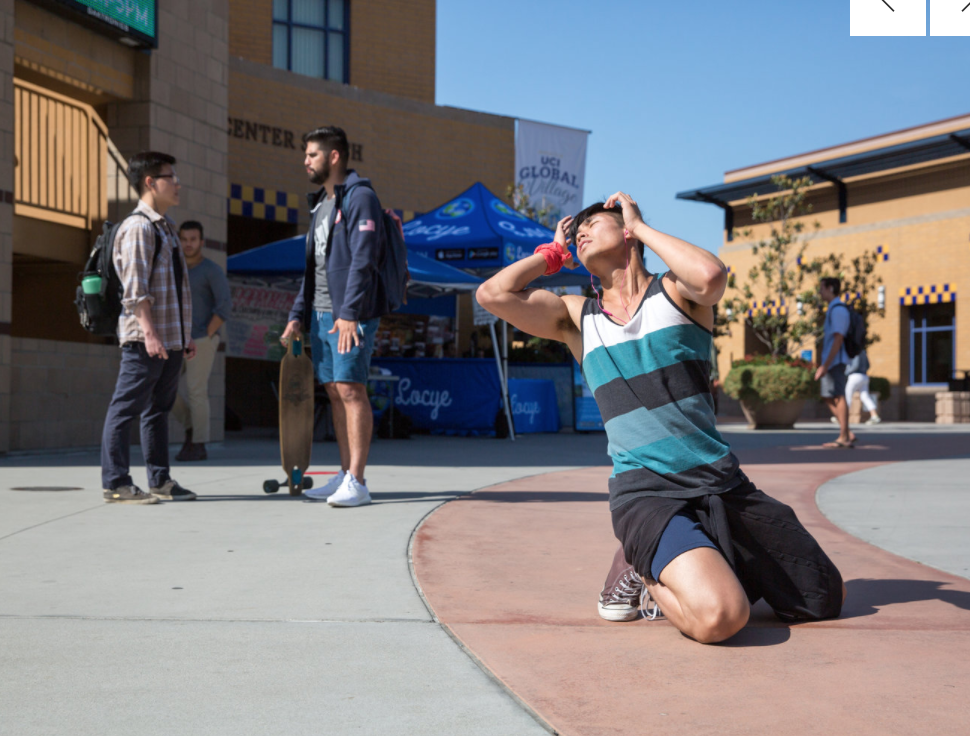 "UC IRVINE 5/11   ""Dance. Love. Liberate.""  Thursday, May 11, from 3:30-5:00pm  LOCATION: Ring Road, by the flagpoles  Bring your favorite music and earbuds. Come ready to move. Watch a 60-second how-to  video .  ""Dance. Love. Liberate"" is a participatory dance action at UC Irvine. It's flash mob meets mind-body practice meets street activism. Everyone is invited to try this fun workshop to dance for what they believe in and experience liberation for all. It's also good exercise and stress relief. Learn this alternative way of being powerful in public space!   This activity is presented by the Illuminations Program, working in collaboration with QTPOC Festival, The Coup de Comedy Festival, and the Global Improvisation Initiative Symposium."