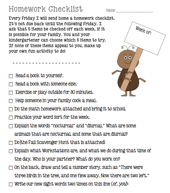 Homework Checklist from teachruneat.com