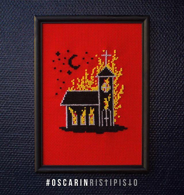 Kyrka nr.3 🔥⛪️🔥 *SOLD* #oscarinristipisto #ristipisto #korsstygn #crossstitch