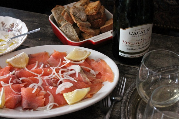 smoked salmon and sparkling wine