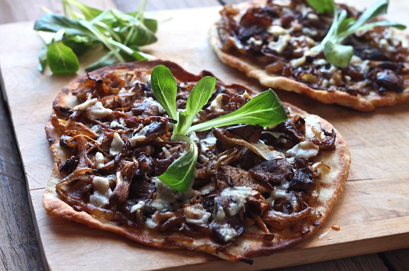 Grilled Faltbreads with Shiitake and Roasted Onions