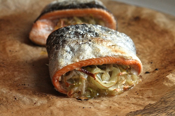leek-stuffed trout