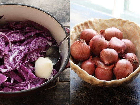 Red Cabbage and Shallots