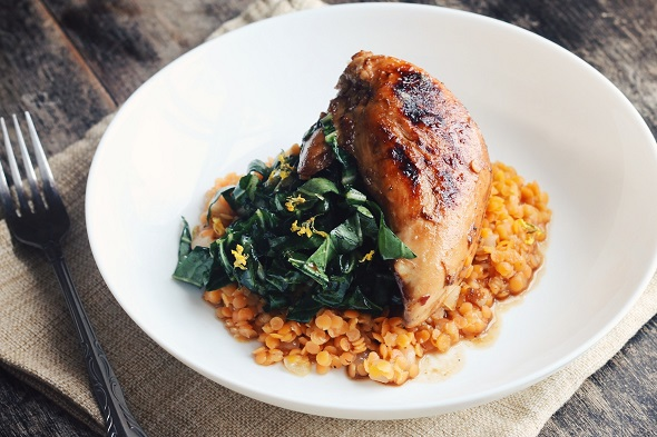 Roasted Partridge with Red Lentils
