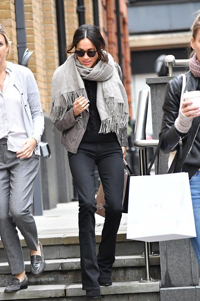 MEGHAN MARKLE wearing the SENTALER Royal Baby Alpaca Classic Wrap Scarf while shopping in London | photo by:  Getty Images