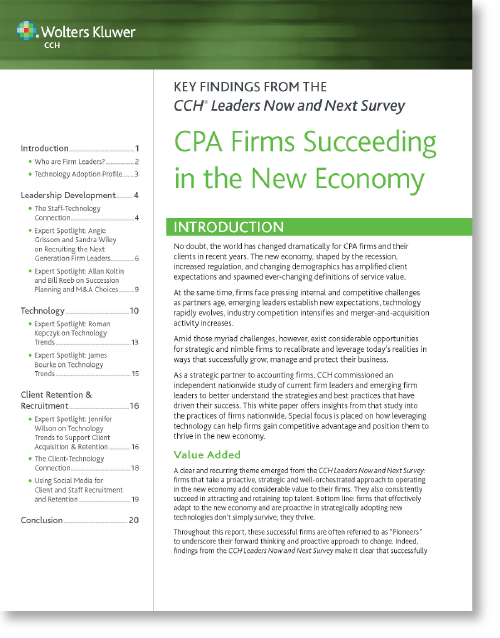 CPA Firms Succeeding in the New Economy Wolters Kluwer