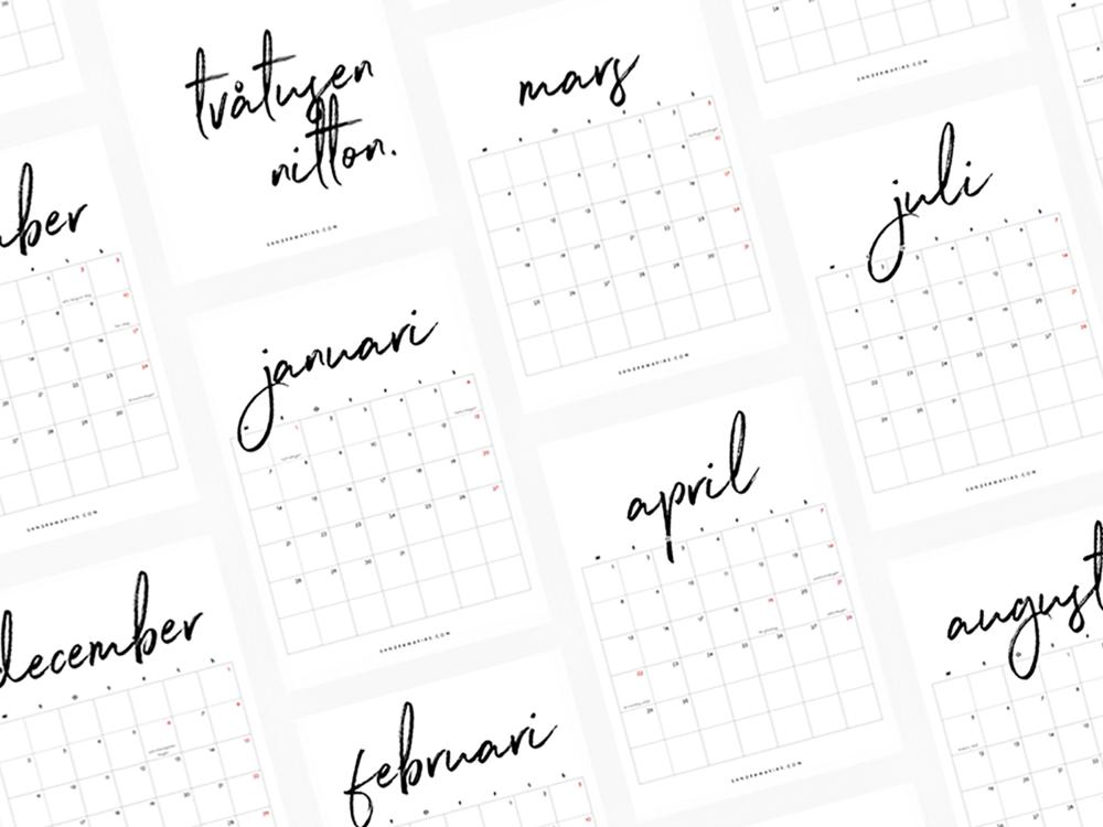 Nerladdningsbar gratis kalender 2019 | By Sandramaria | Sandramarias.com