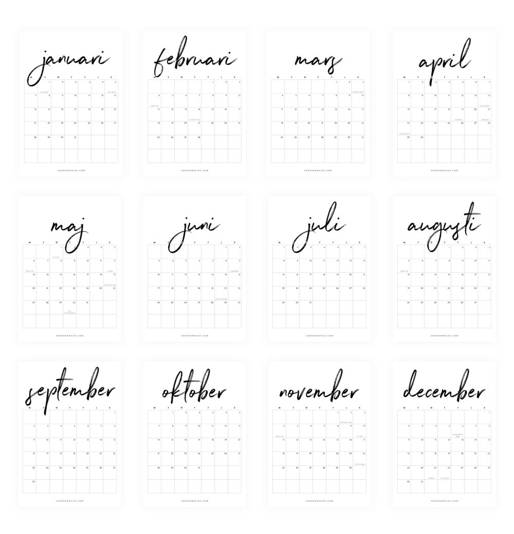 Gratis nerladdningsbar kalender 2019 | By Sandramaria | Sandramarias.com