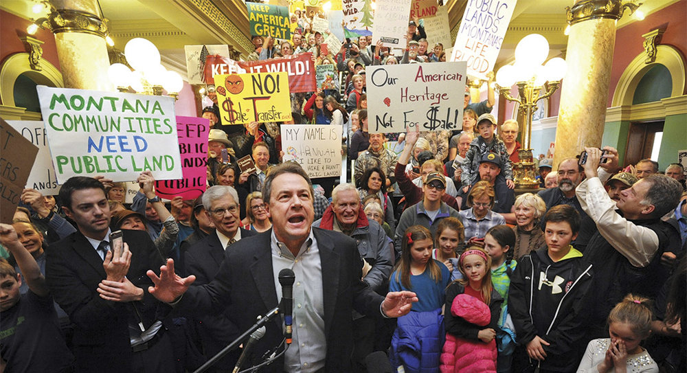 Montana Governor Steve Bullock gives an impassioned speech to supporters at a public-lands rally in the state-capitol building last January. Photo by Thom Bridge, Independent Record.