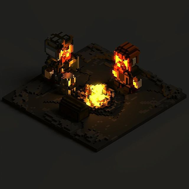 My first try in character #voxel modeling. Two dwarves resting at the campfire.  #gamedev #indiedev #indie #qubicle #magicavoxel