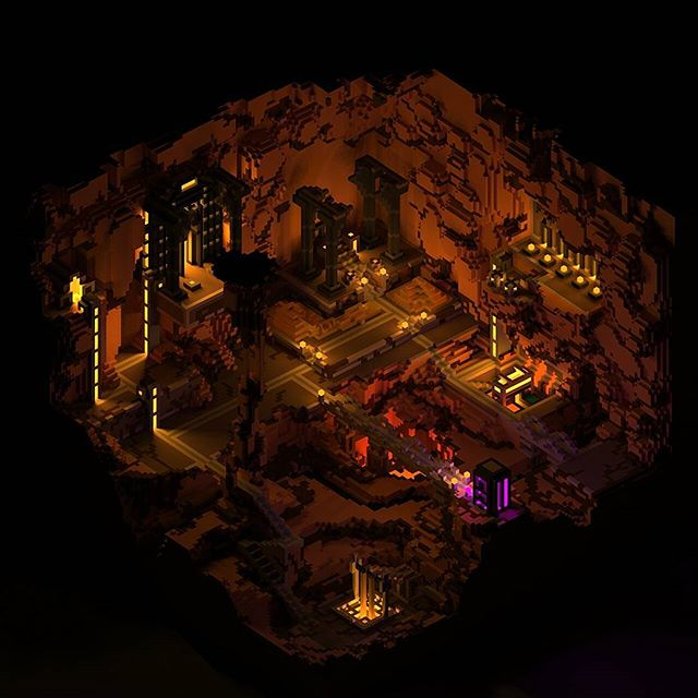 Our first #wip on #voxel scene for an unannounced project. Dwarven City. Model: #Qubicle Rendering:  #MagicaVoxel  #gamedev #indiedev #indie