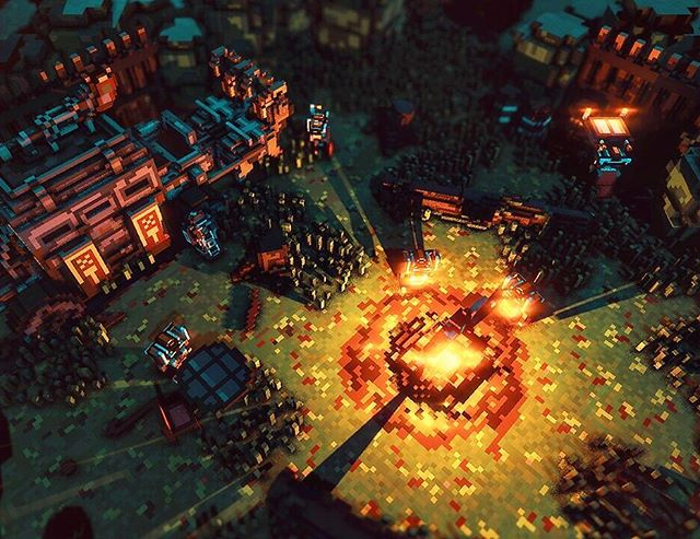 Dwarven mobile camp with a bonfire :) #brutaldwarves #voxel #voxelart #magicavoxel #qubicle #screenshotsaturday #indiedev #gamedev #madewithunity #indiegames #android #googleplay #Steam #rpg #runner