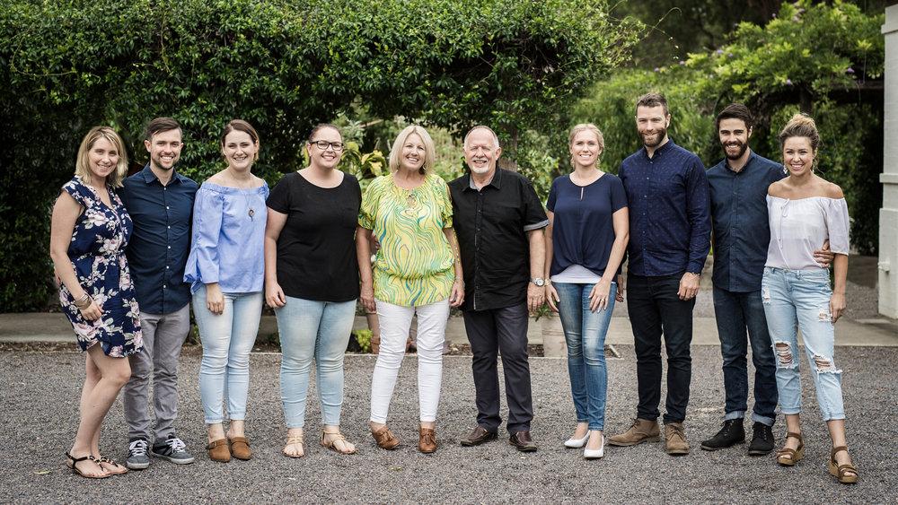 Pastoral Team - left to right, Sarah & Josh Howard, Jess Stalder, Pam Smith, Elly & Martyn Webb, Rachel & Andrew Coates, & Caleb & Sarah Coles.