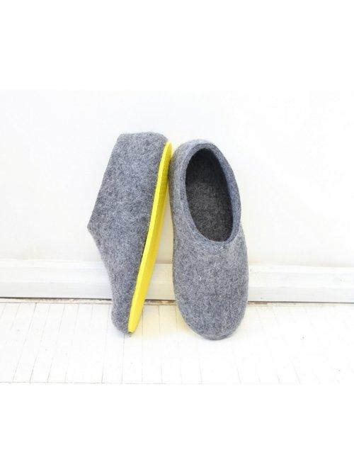 Women S Felt House Shoes Grey Minimalist Handmade To Order Felt